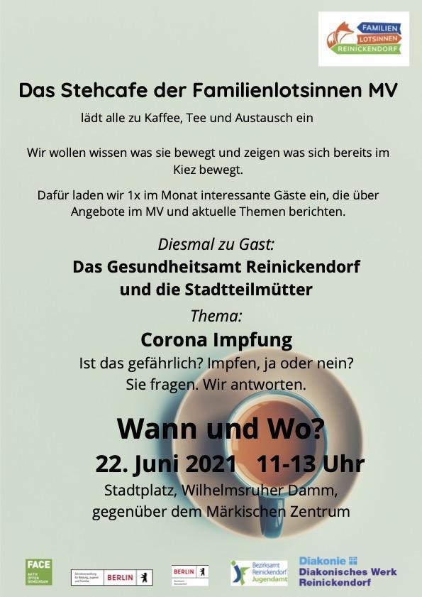 Stehcafé zum Thema Impfen am 22.6. auf dem Stadtplatz im MV